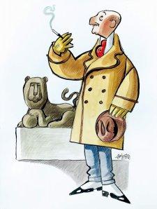 Wences según Mingote junto al león parlamentario que tan bien domó.