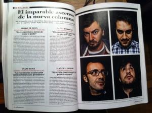 Collage de nuevo columnismo. Sección Rock & Roll de la Rolling de este mes.
