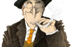 Pla, fumándose la opinión de El País. Ilustración en el 255 de LEER de David Pintor.