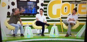 Siro López, Edu Aguirre y Bustos en La Goleada, de 13TV.