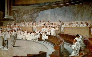 """""""Cicerón denunciando a Catilina"""", por Cesare Maccari."""