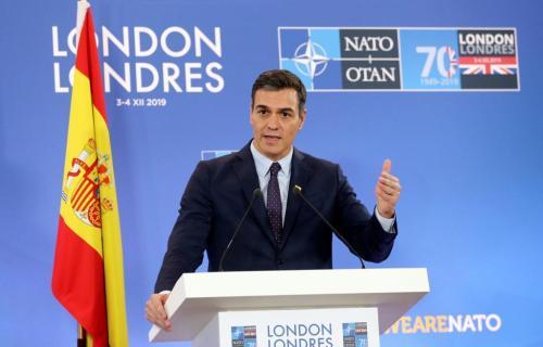 Rueda de prensa del residente del Gobierno de España en funciones, Pedro Sánchez en la OTAN